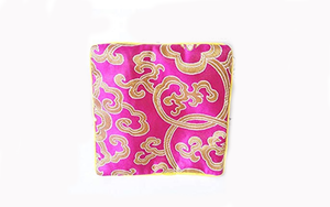 Fuchsia Silk Brocade Jewelry Pouch Bag