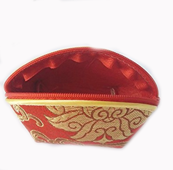Red Silk Brocade Coin Purse