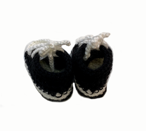 Black & White Converse Style Crochet Baby Booties