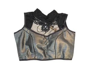 Formal Silk Grey Black Sequenced Crop Top