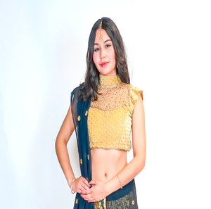 Silk Embroidered Golden Crop Top