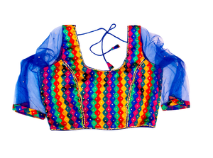 Formal Silk Multicolor Crop Top