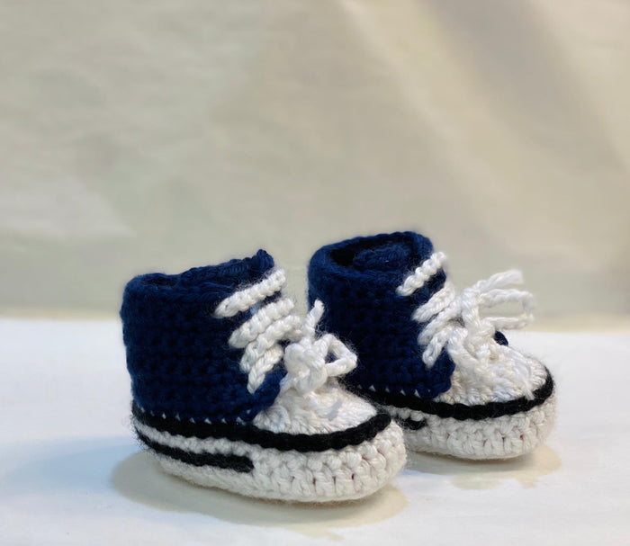 Handmade Crochet Space Blue Converse Style Baby Booties
