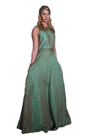 Teal and Gold Brocade Gown