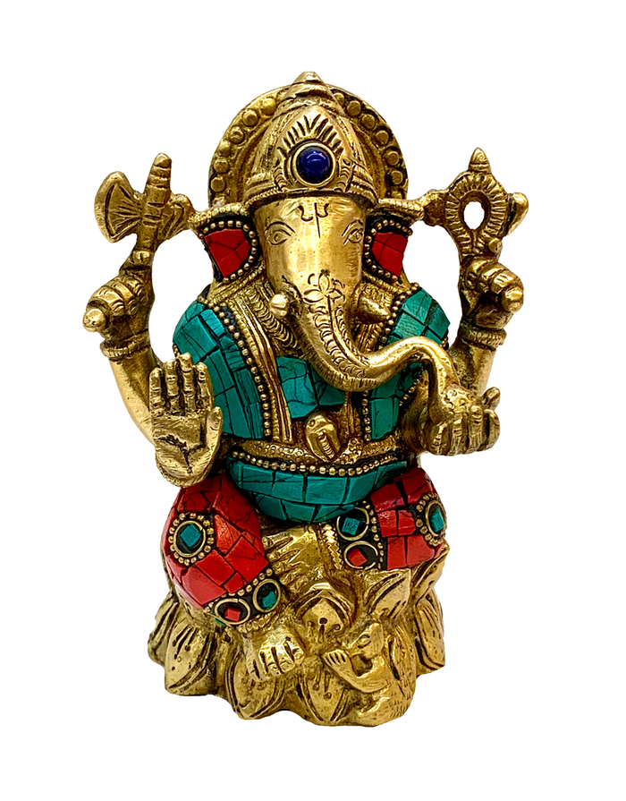Brass Ganesha Turquoise And Coral Statue