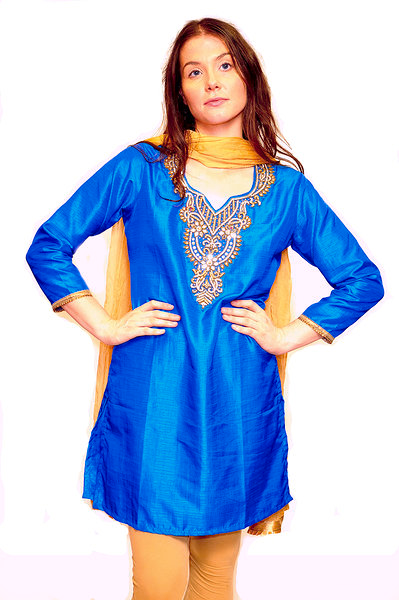 Silk Cerulean Blue and Golden Trim Tunic
