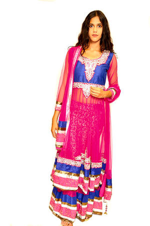 Magenta and Royal Blue Anarkali Split Lehenga
