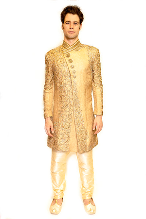 Heritage Crafted Gold Jewel Accents Formal Sherwani