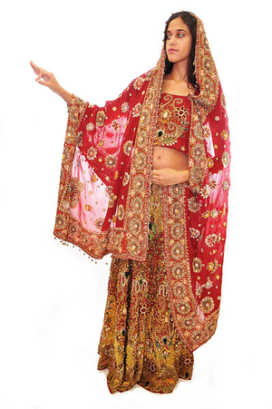 Formal Bridal Maroon & Gold Wedding Lehenga