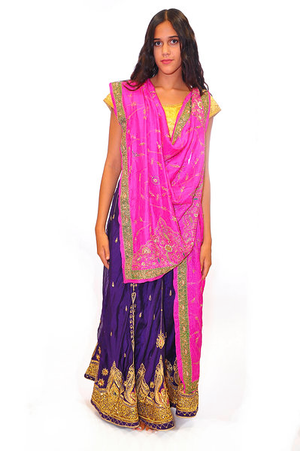 Formal Pink and Royal Purple Lehenga
