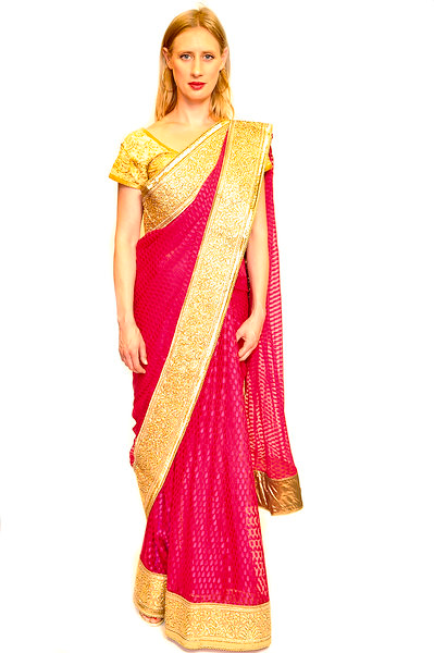 Formal Fuchsia and Gold Saree
