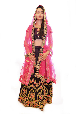 Chocolate and Coral Lehenga
