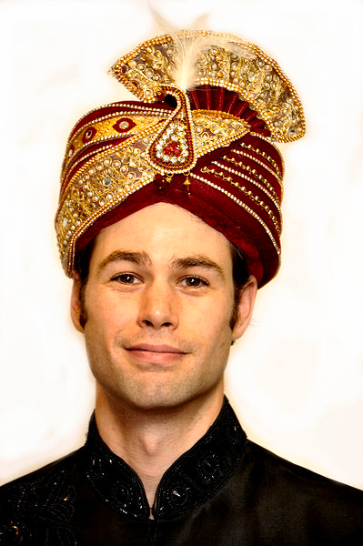 Formal Maroon and Gold Turban
