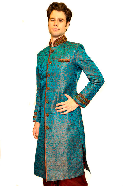 Formal Turquoise and Brown Sherwani