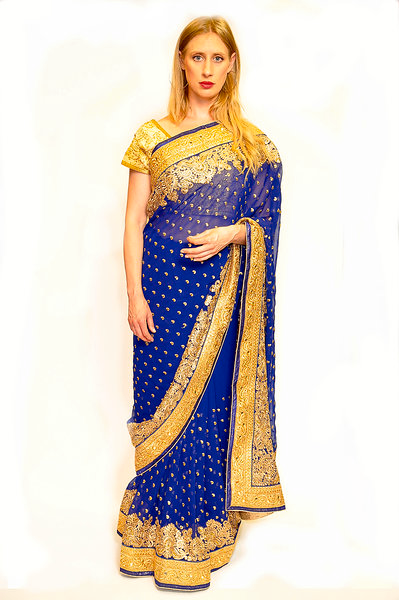 Navy Blue Gold Embroidery work Saree