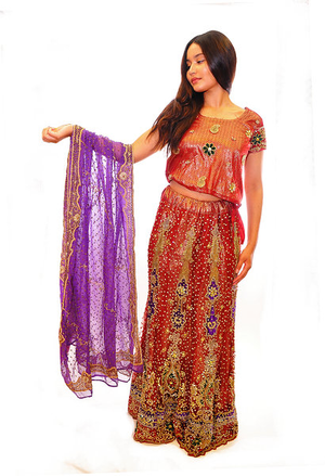 Maroon and Purple Bridal Lehenga