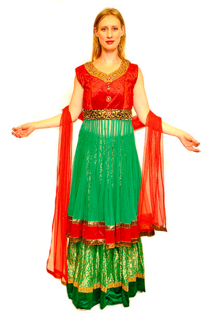 Blood Orange and Kelly Green Anarkali Split Lehenga