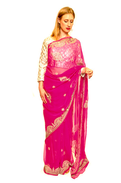 Formal Silk Magenta with Golden work Saree