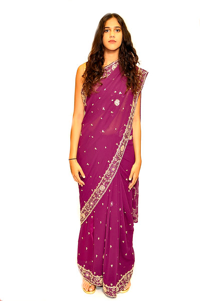Formal Eggplant Chiffon Silk Saree