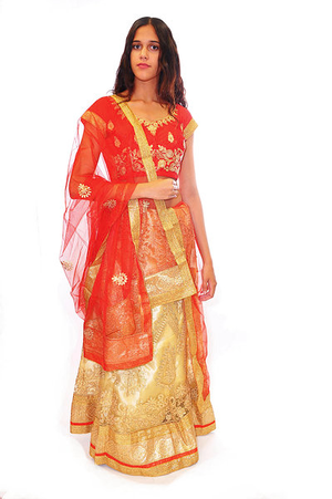Blood Orange and Gold Lehenga