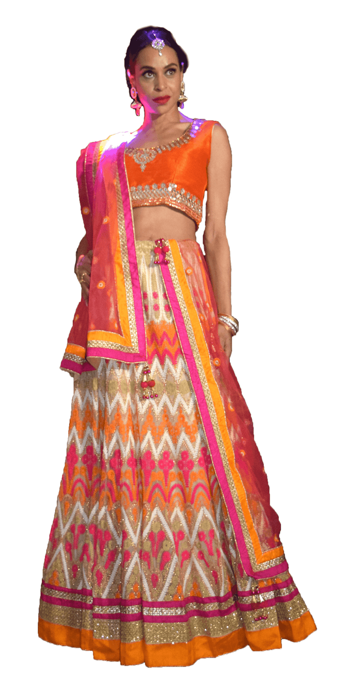 Orange and Fuchsia  Chevron Embroidered Lehenga