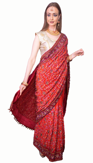 Maroon Gold Chiffon Embroidered Saree