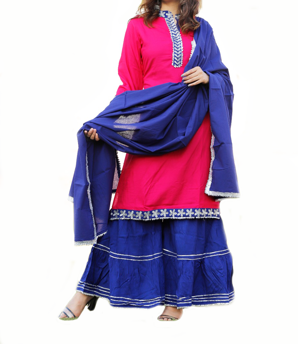 Cotton Fuchsia With Blue Sharara Pants