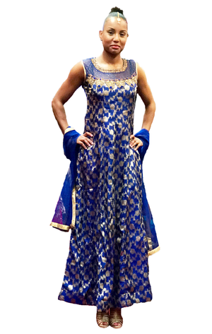 Formal Royal Blue Brocade Gown