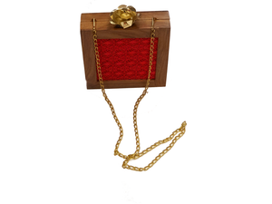 Ruby Red Wooden Clutch