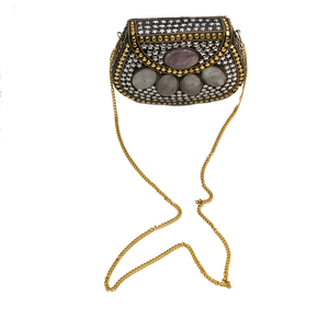 Gold and Silver Star with Semi Precious Stones Clutch
