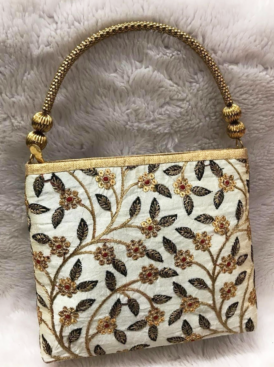 Silk Embroidered Floral Black and Ivory Purse