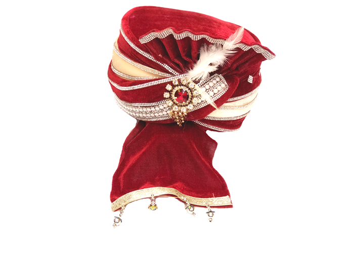 Red Velvet With Gold Trim Turban