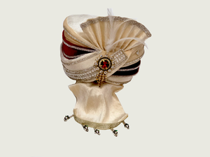 Cream With Maroon Trim Velvet Turban