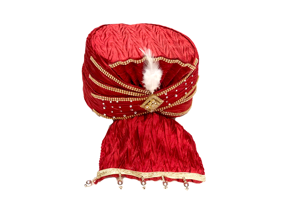Red Velvet With Jeweled Turban