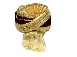 Gold With Maroon Trim Turban