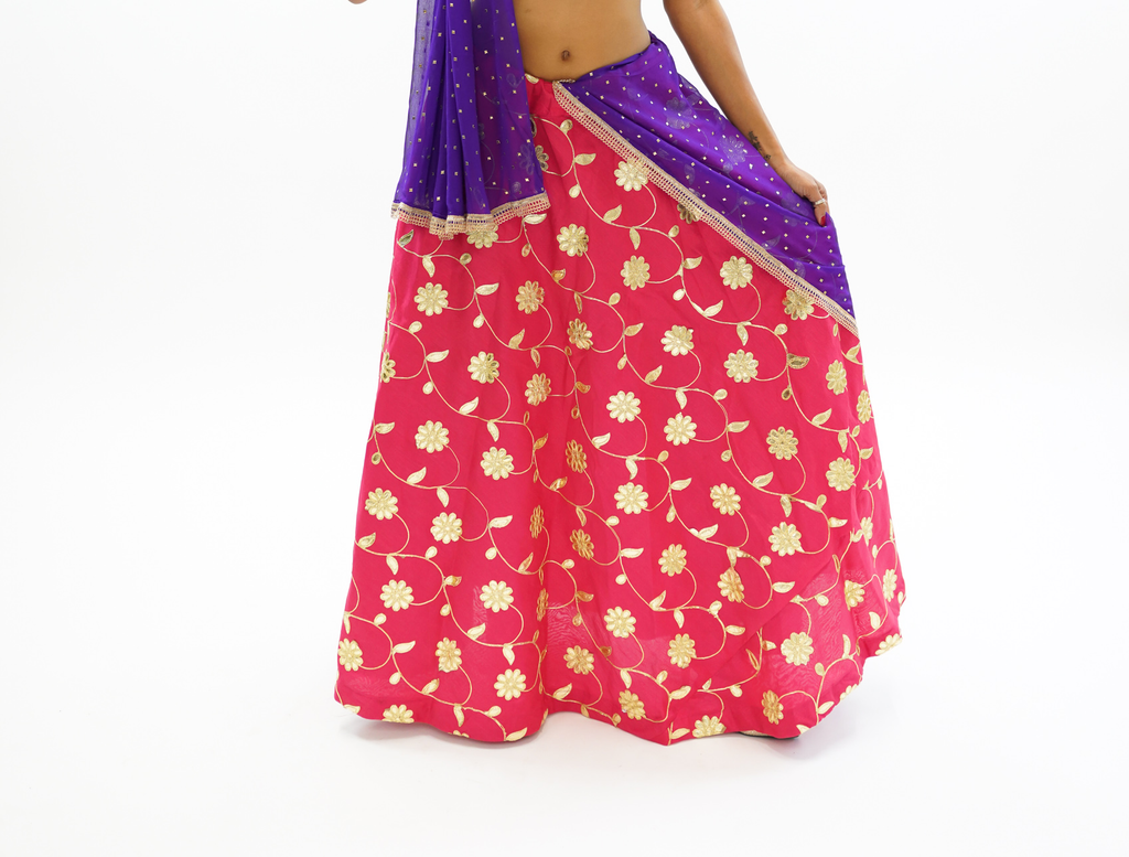 Silk Ruby Pink Gotta Patti Work Lehenga Skirt