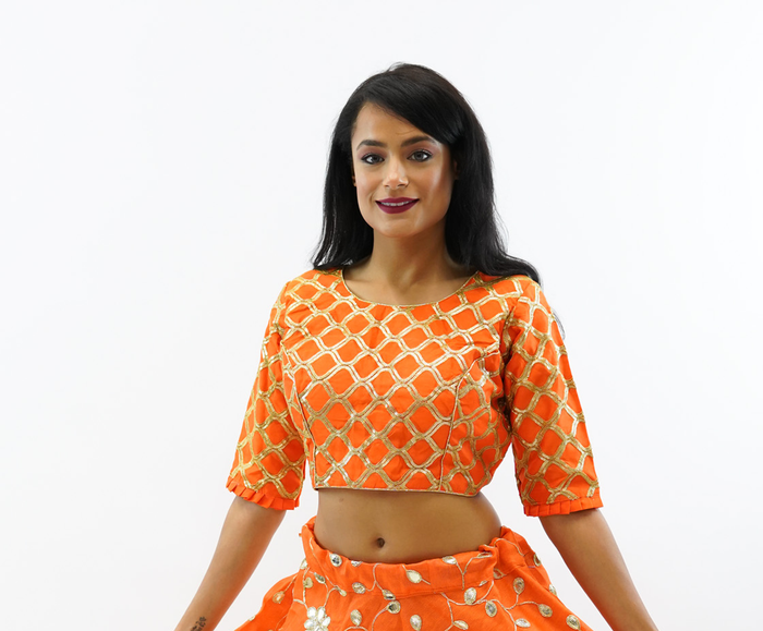 Formal Embroidered Silk Salamander Orange Crop Top with Three Quarter Sleeves