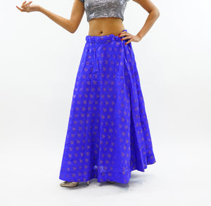 Silk Persian Blue Brocade Lehenga Skirt
