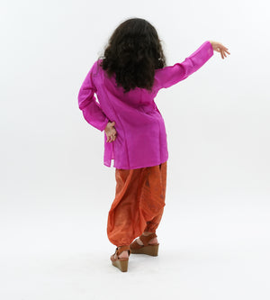 Silk Fuchsia Pink  Embroidered Kurti / Tunic