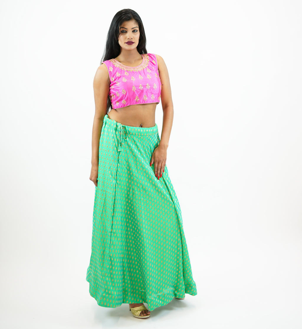 Silk Sea Foam Green Brocade Lehenga Skirt