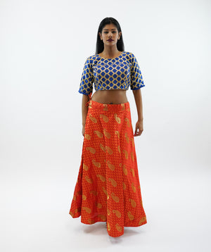 Silk  Brocade Tiger Orange With paisley Design Lehenga Skirt