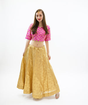 Silk Mellow Gold Brocade Lehenga Skirt