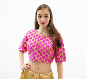 Formal Silk Magenta Pink Crop Top with Three Quarter Sleeves