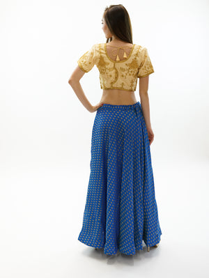 Silk Azure Blue Brocade Lehenga Skirt