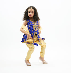 Silk Egyptian Blue Embroidered Girl's Salwar Suit