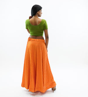 Silk Papaya Orange Brocade Lehenga Skirt
