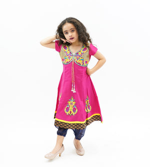 Cotton Dark Punch Pink  Embroidered Girl's Salwar Suit