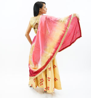 Silk Gold With Red Embroidered Lehenga Skirt