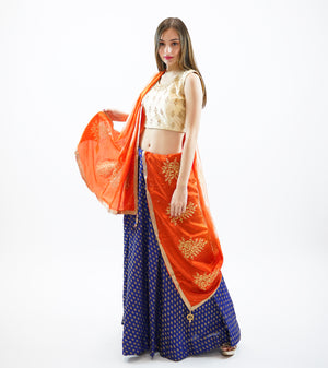 Silk Cobalt Blue Brocade Lehenga Skirt