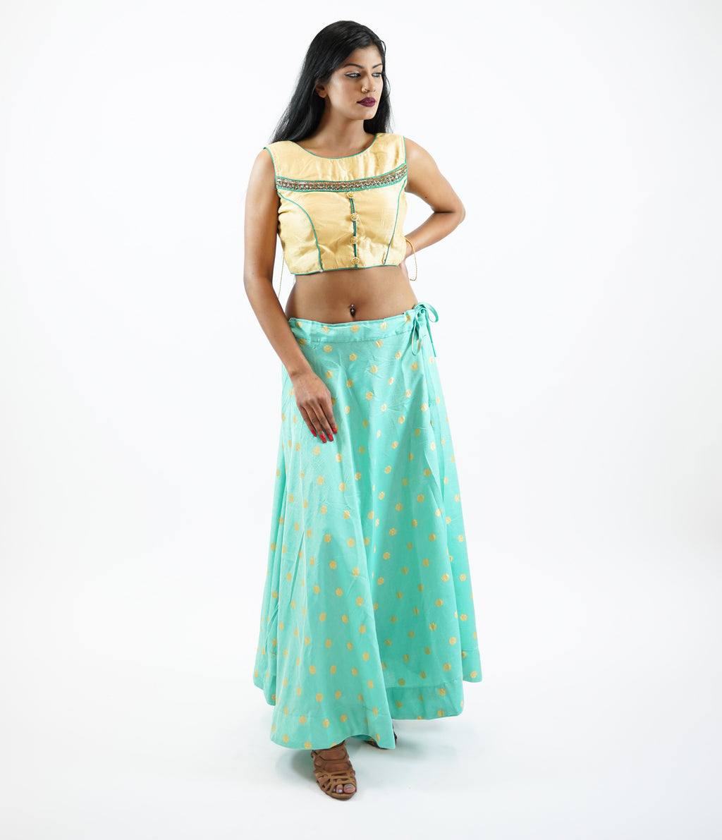Silk Mint Green Brocade Lehenga Skirt